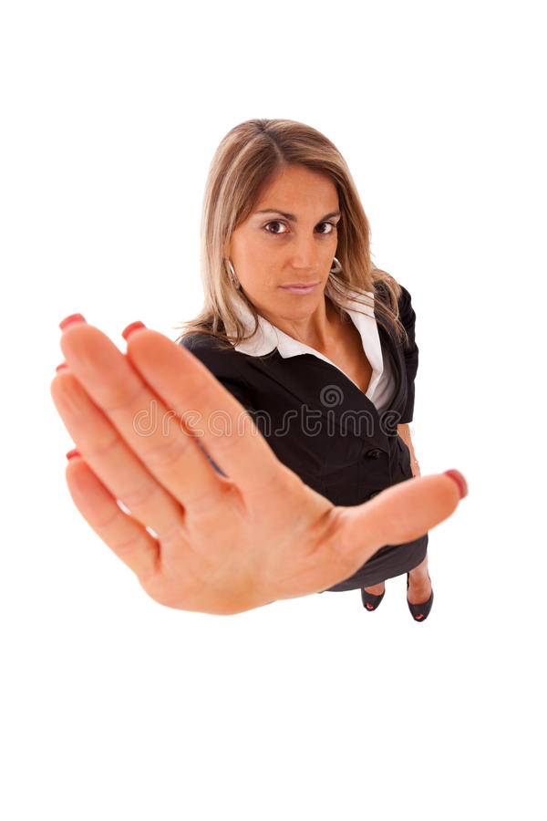 Stop right there. Businesswoman order you to stop (isolated on white royalty free stock photo