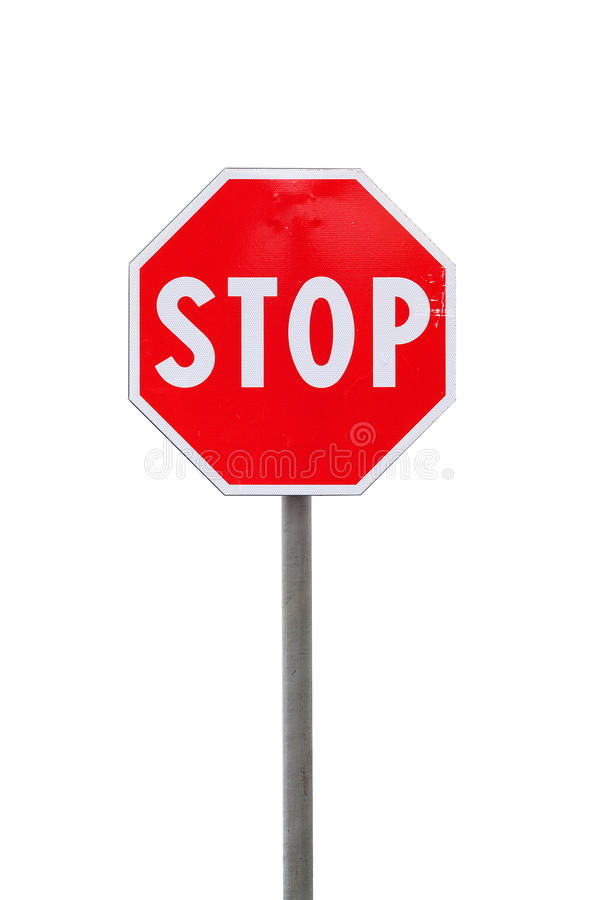 Stop road sign. S on a white background royalty free stock photos