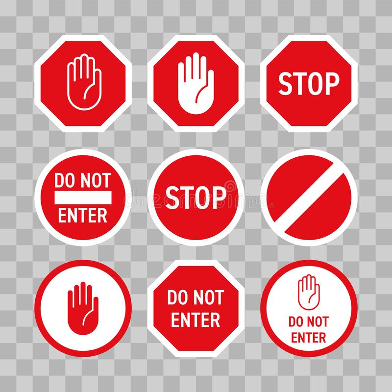 Stop road sign with hand gesture. Vector red do not enter traffic sign. Caution ban symbol direction sign. Warning stop signs stock illustration