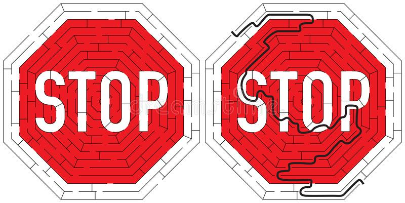 Stop road sign maze. For kids with a solution royalty free illustration