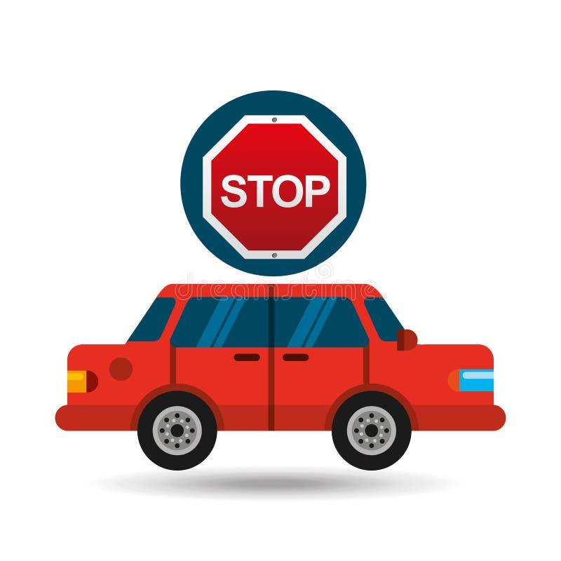 Stop road sign sedan red. Vector illustration eps 10 stock illustration