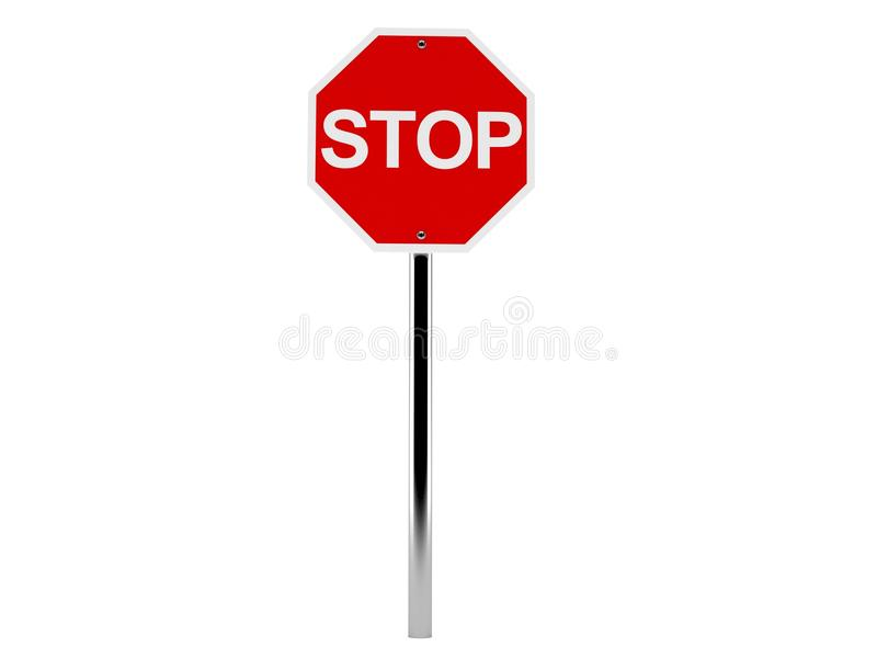 Stop road sign. Isolated on white background stock illustration