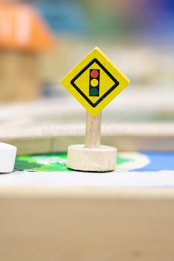Stop road sign - Toy Set Street Signs. Play traffic set Educational toys for preschool indoor playground stock photography