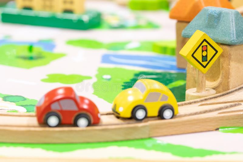 Stop road sign - woden Toy Set Street Signs, cars for kids Play set Educational toys for preschool indoor playground selective. Focus stock images