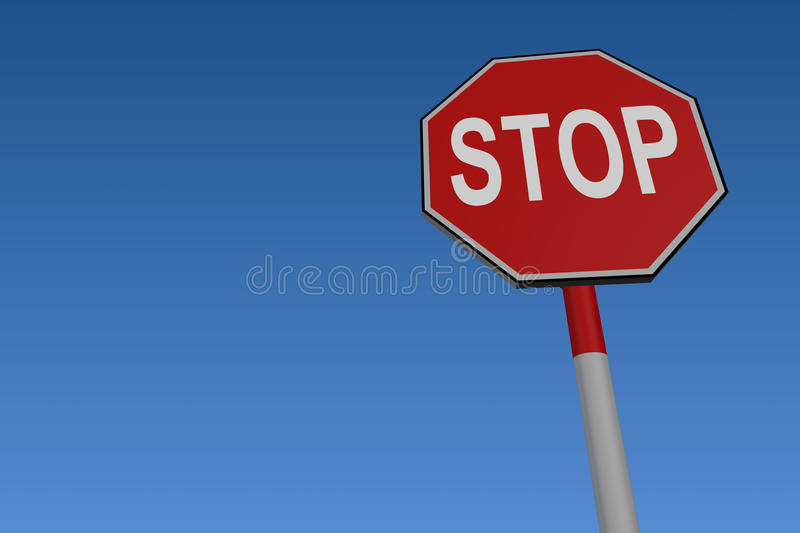 Stop Road Traffic Sign. At low angle against blue background royalty free illustration