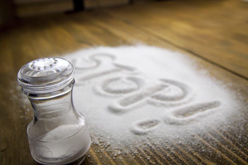 Stop salt – medical concept stock photos