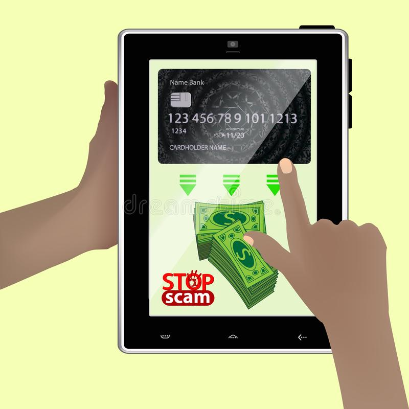 Stop scam. cheating and fraud. Hands. Holding a smart tablet. A bag of green money. translate online royalty free illustration