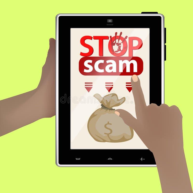 Stop scam. cheating and fraud. Hands hold smart tablet. money bag. translate online vector illustration