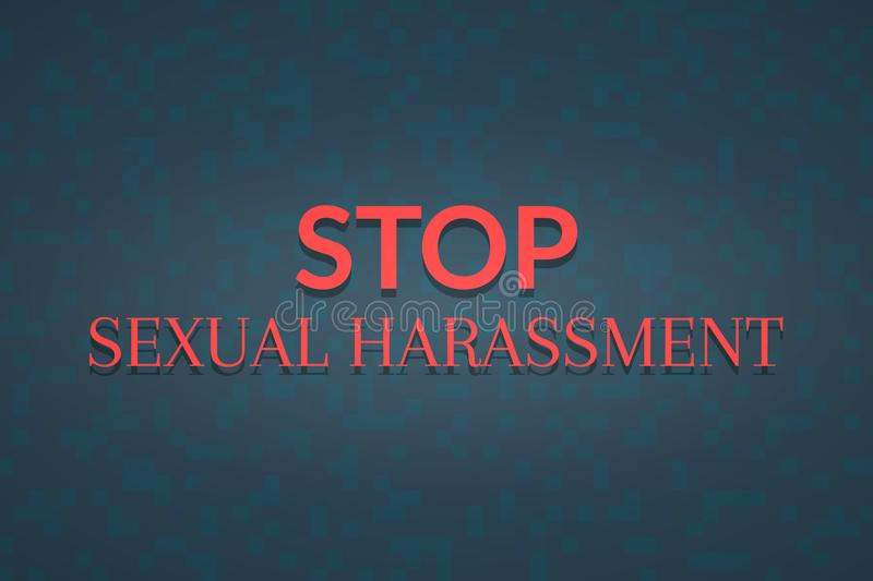 Stop sexual harassment background banner. Illustration with red text royalty free illustration