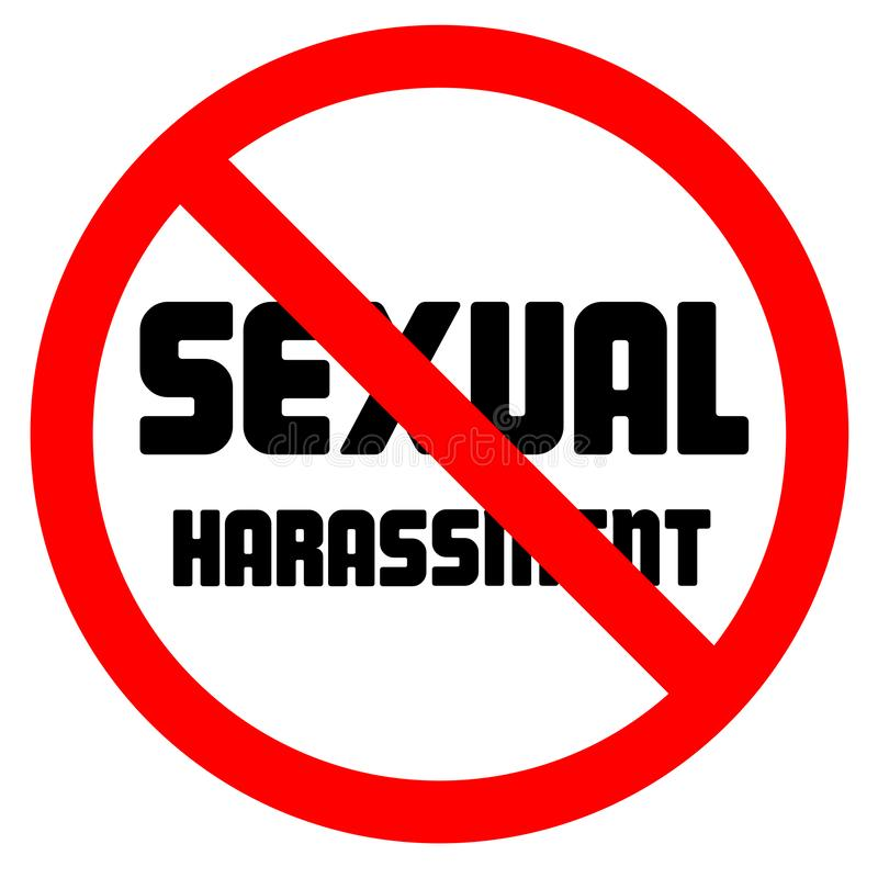 Stop sexual harassment forbidden sign negative space vector illustration. Isolated on white background vector illustration