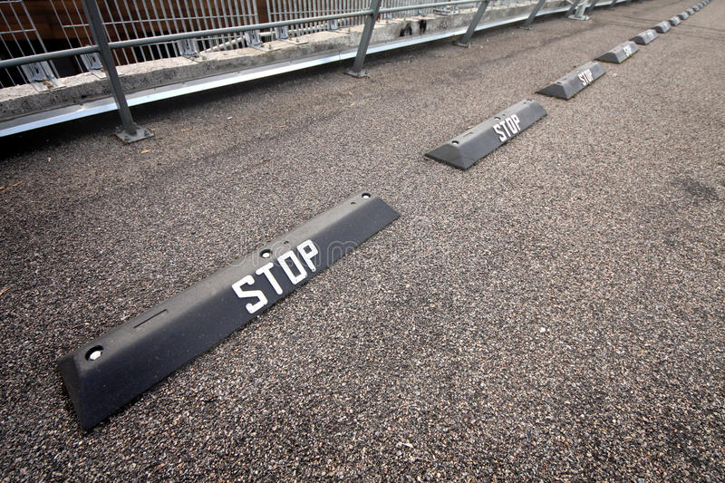 Stop sign. On a asphalt road surface royalty free stock images