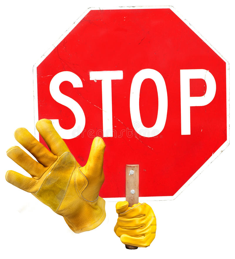 Stop sign. Yellow hands hlding a scratched stop sign on a white background stock photos