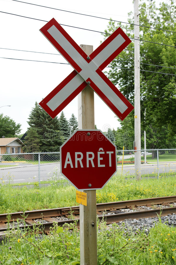 Stop Sign. Picture of the railroad crossing and stop sign in quebec, canada stock photos
