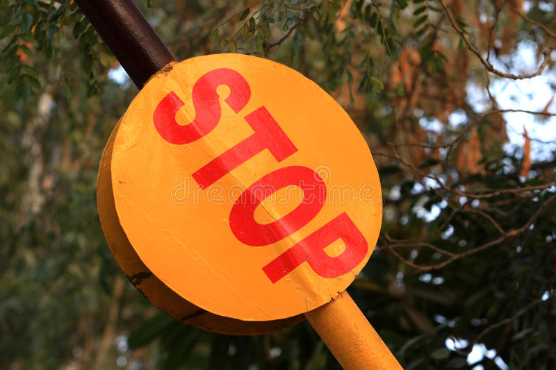 Stop sign. Beautiful shot of stop sign at checkpost barrier stock photography