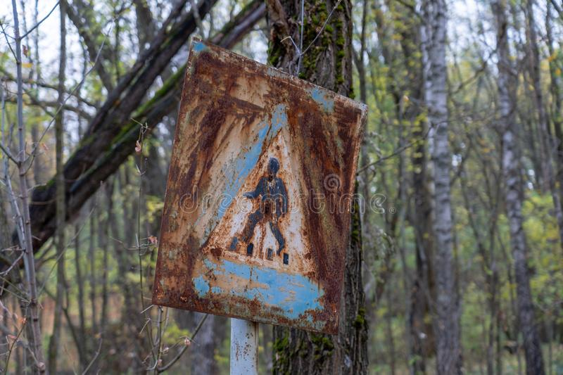 Stop sign in Chernobyl stock photography