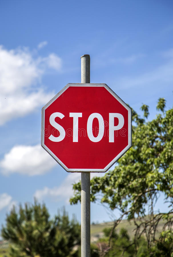 Stop sign. Close up view at the stop sign stock image