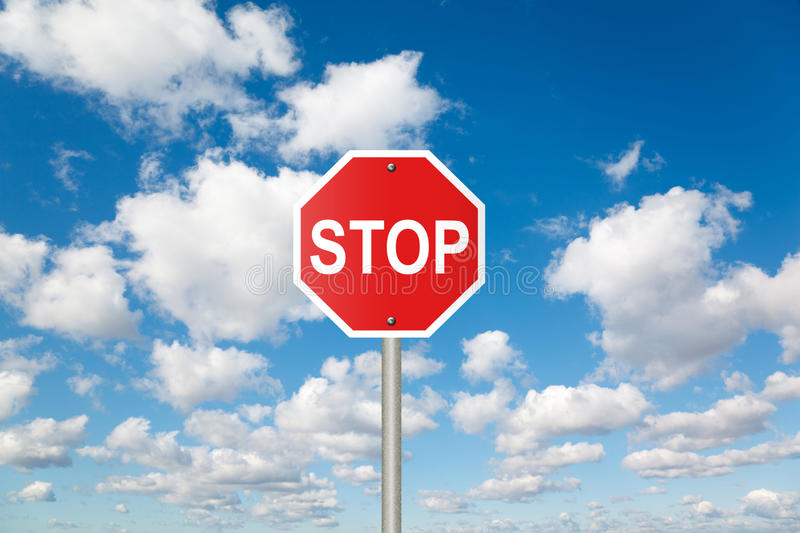 STOP sign on clouds in sky collage. STOP sign on White, fluffy clouds in blue sky collage royalty free stock image