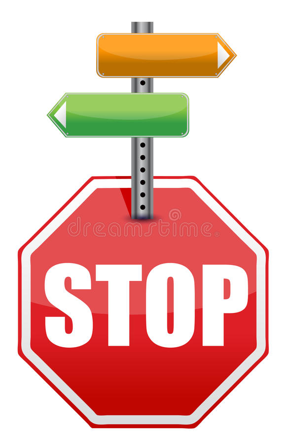 Download Stop Sign With Color Arrows Stock Illustration - Image: 27208196