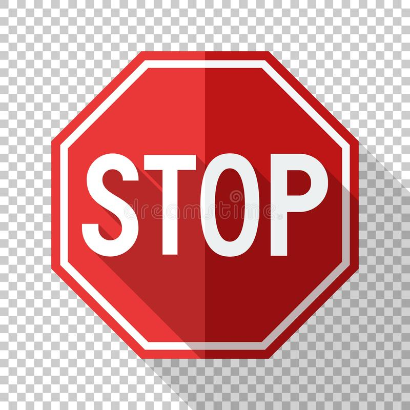 Stop sign in flat style on transparent background stock illustration