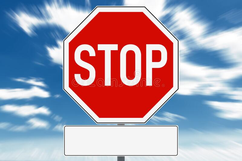 Stop sign with free text field for copy space. In the background is a dramatic sky. Germany royalty free illustration