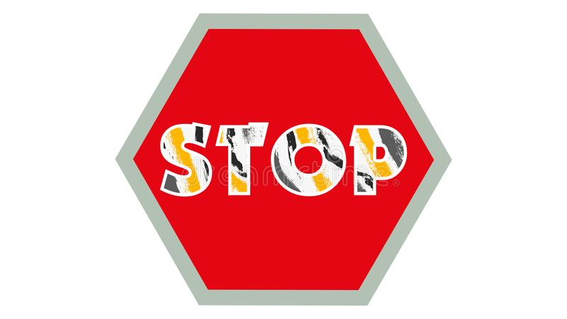 Stop Sign Graphic 001 - Red Background - Colorful Text Stop vector illustration