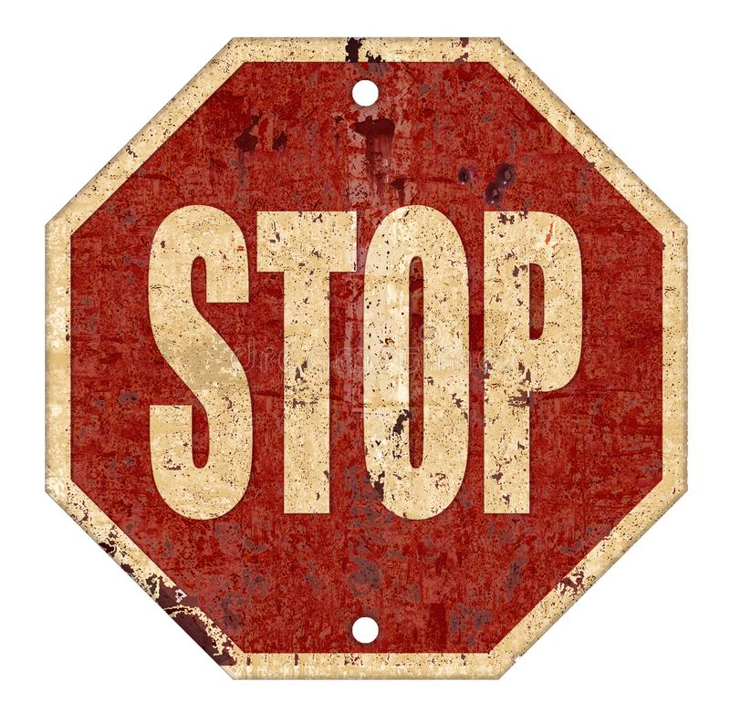 Stop Sign Grunge Vintage stock illustration