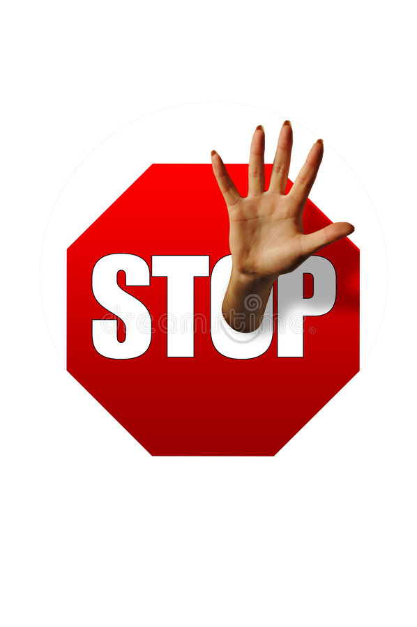 Stop sign and hand