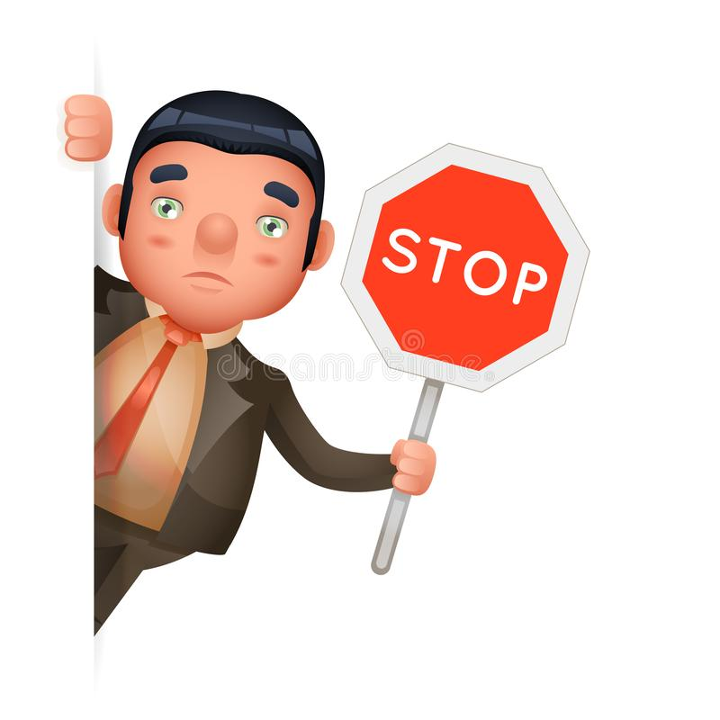 Stop sign hold in hand businessman look out corner cartoon character design isolated vector illustration royalty free illustration