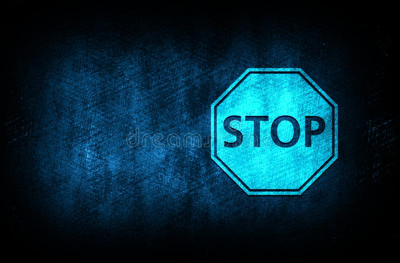 Stop sign icon abstract blue background illustration digital texture design concept. Stop sign icon abstract blue background illustration dark blue digital royalty free illustration
