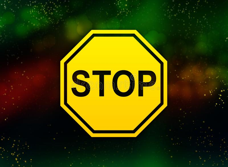 Stop sign icon abstract bokeh dark background. Stop sign icon isolated on abstract bokeh dark background vector illustration