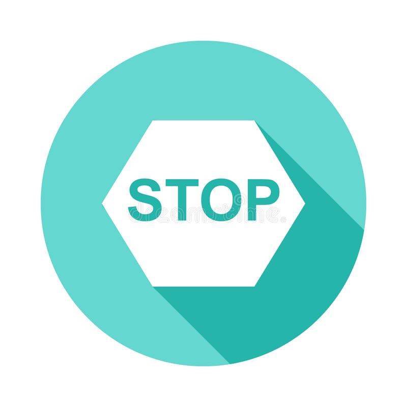 stop sign icon in Flat long shadow style royalty free illustration