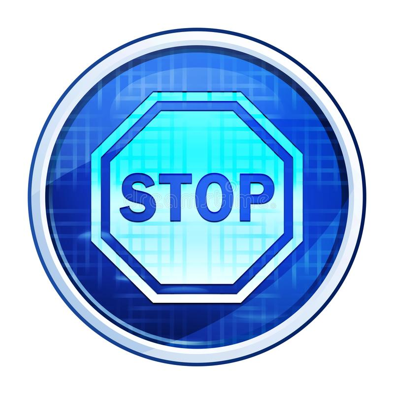 Stop sign icon futuristic blue round button vector illustration. Stop sign icon isolated on futuristic blue round button vector illustration stock illustration
