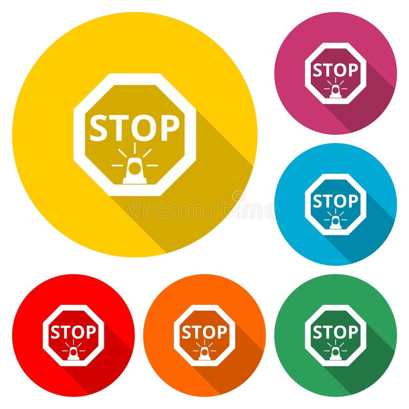 Stop sign icon isolated with long shadow royalty free illustration