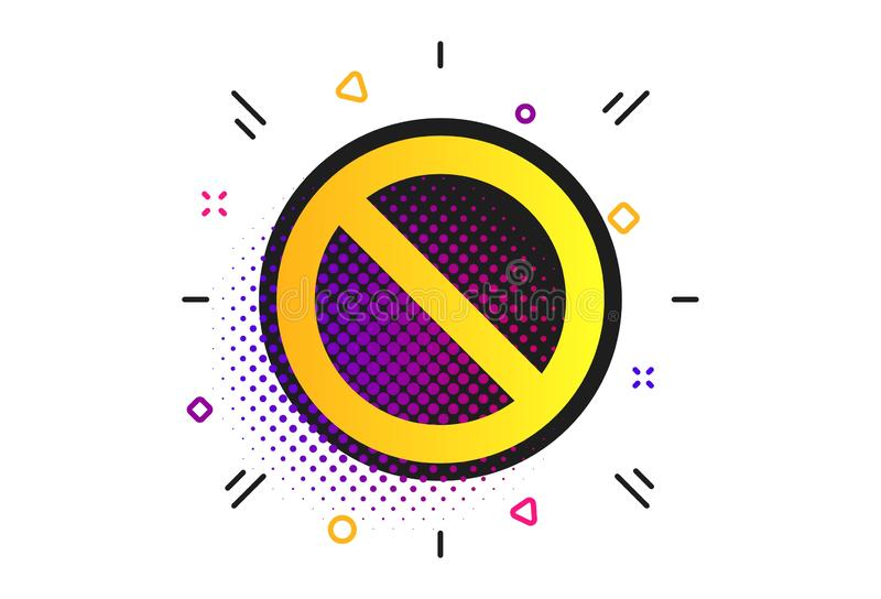 Stop sign icon. Prohibition symbol. Vector. Stop sign icon. Halftone dots pattern. Prohibition symbol. No sign. Classic flat stop icon. Vector royalty free illustration