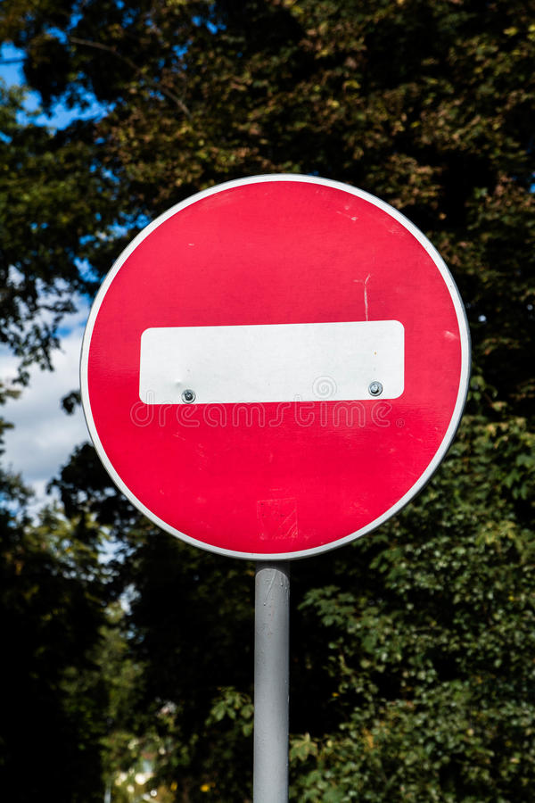 Stop Sign. On iron post in nature background stock images