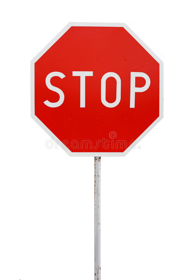 Stop sign isolated. A photo of stop sign. Isolated on a white background royalty free stock images