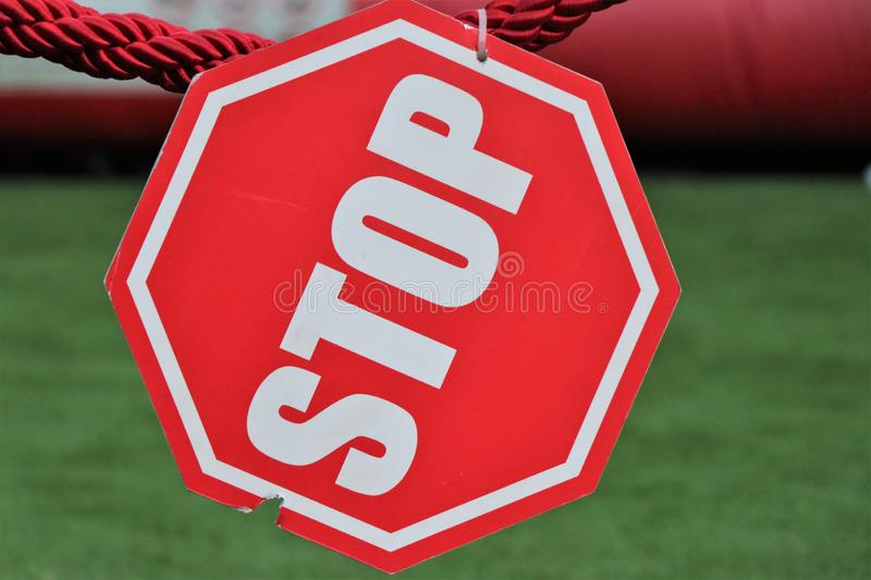 Stop sign isolated, access prohibited. Do not cross. stock photography