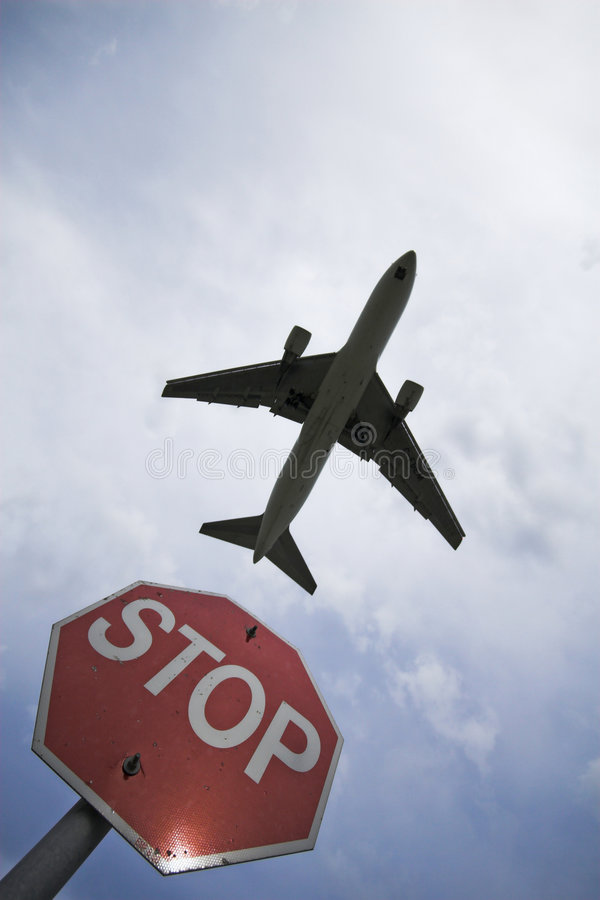 Download Stop sign and plane stock image. Image of light, cloud - 2723373