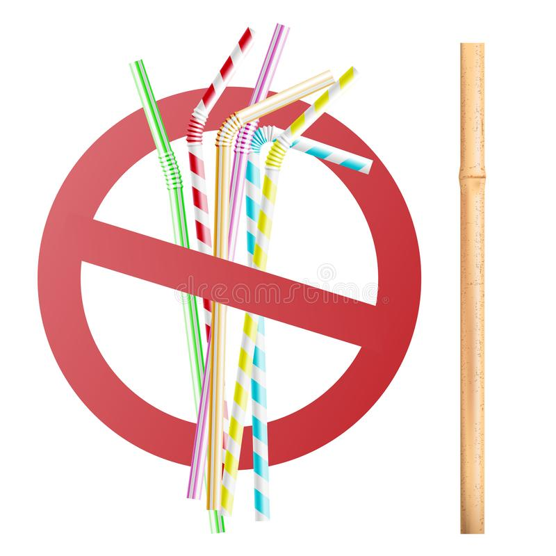 Replacing plastic tubing with reusable wooden and bamboo eco straws for beverages. royalty free illustration