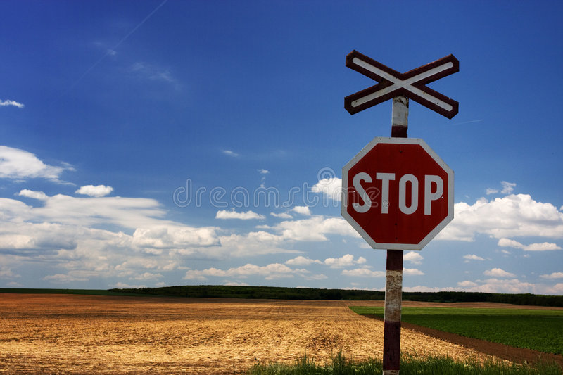 Stop Sign On Railway Royalty Free Stock Photography
