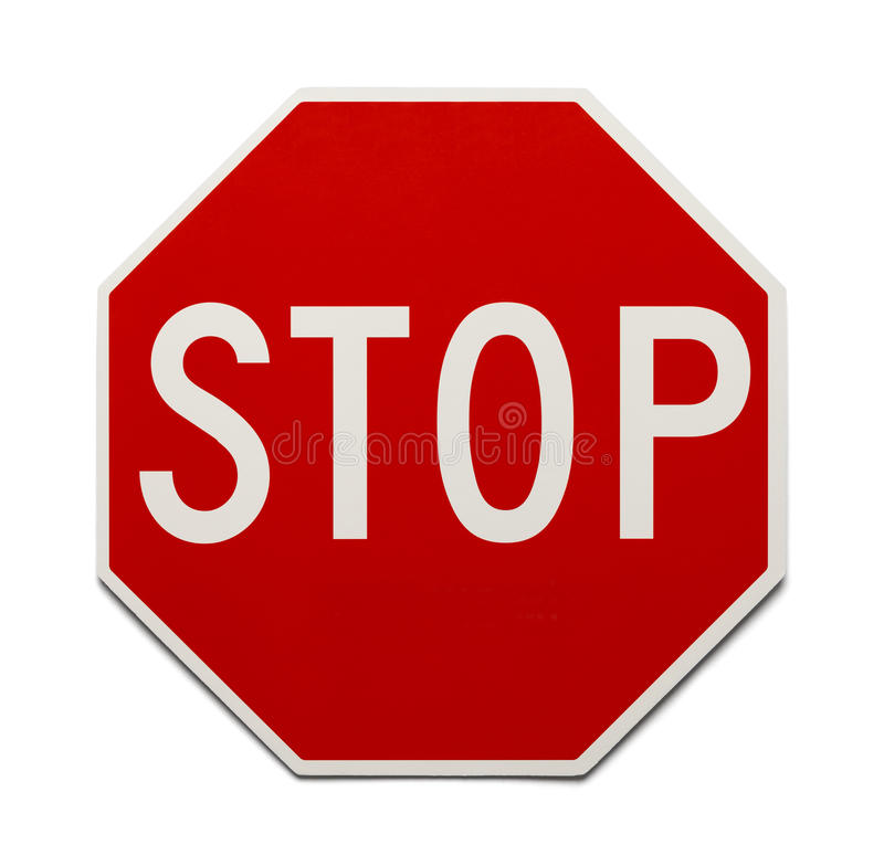 Stop Sign. Red Traffic Stop Sign Isolated on White Background stock photography