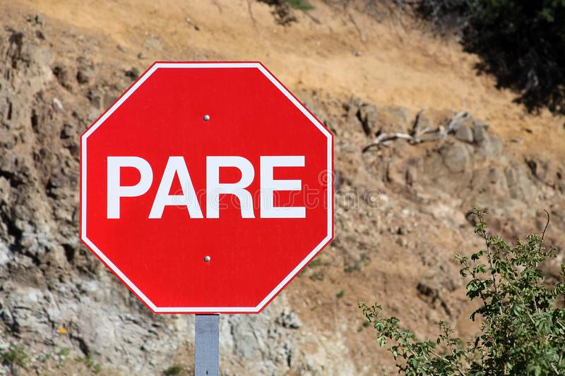 Stop sign of the route in Spanish language royalty free stock photography