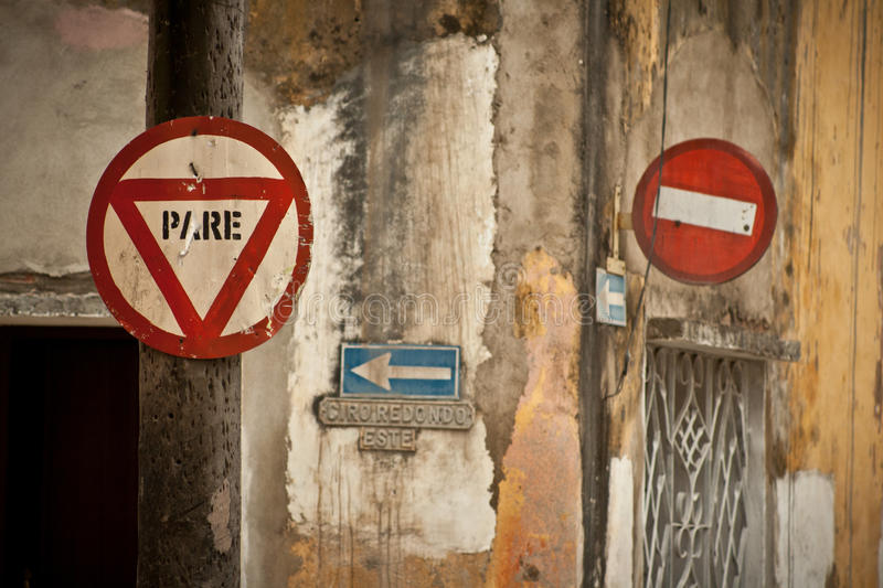 Stop sign. Series of shabby road signs in Cuba royalty free stock image
