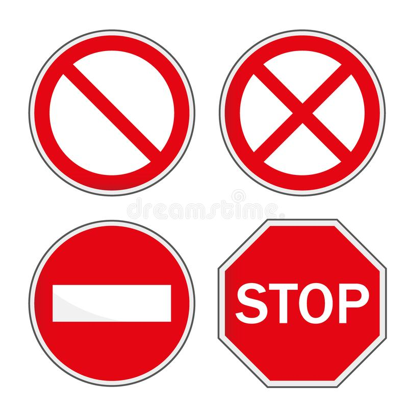 Stop sign, set. Vector illustration. Web icon. Traffic sign. Stop icon stock illustration