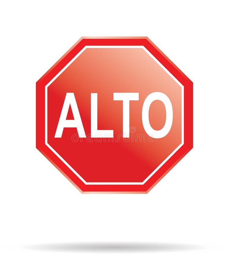 Stop sign spanish stock illustration