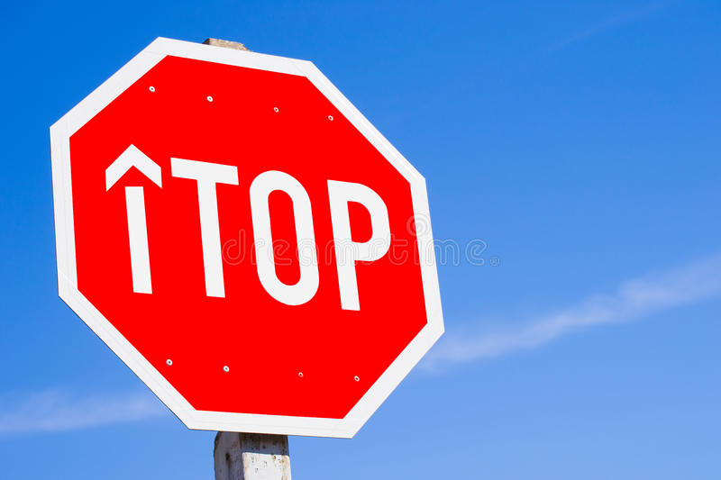 Stop Sign Spelling Top royalty free stock photos
