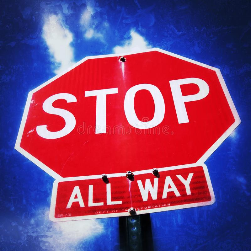 Stop sign. Standard stop sign royalty free stock photography