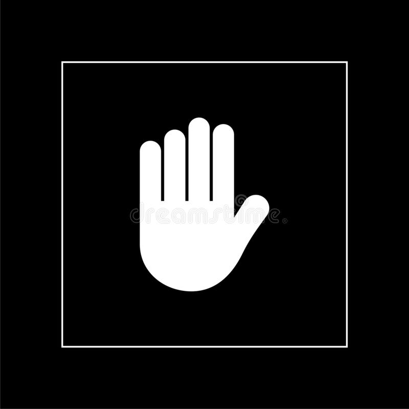 Stop sign. Stylized hand with all fingers on dark background stock images