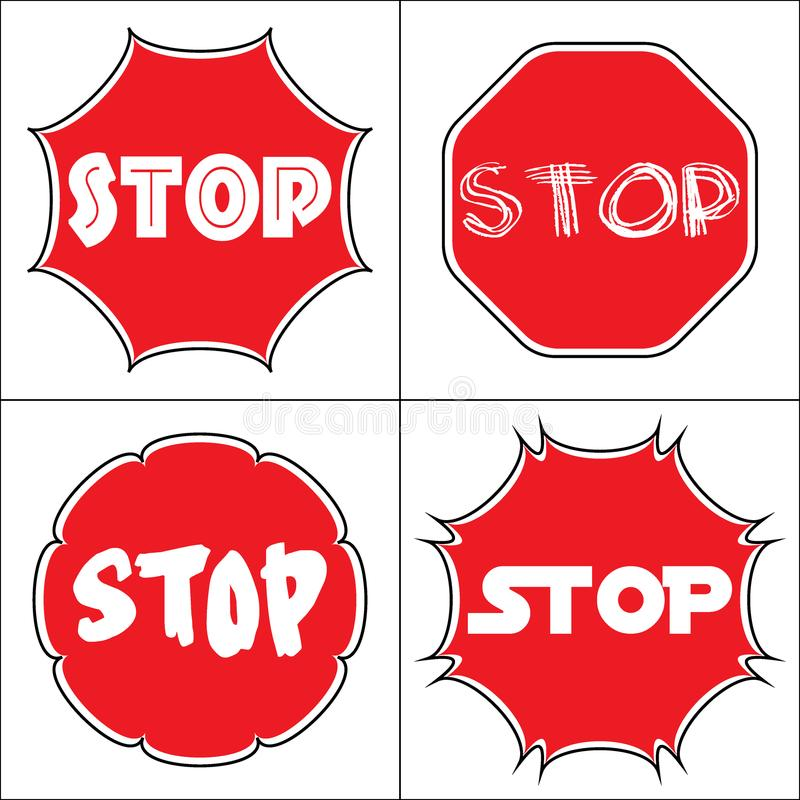 Set a stop sign. STOP sign. Traffic stop icons isolated on white background. Red octagonal stop signs for prohibited activities. Set a stop sign in the octagon royalty free illustration