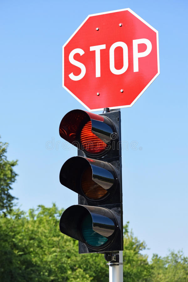 Stop sign and traffic lights stock images